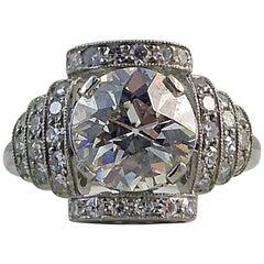 Modern Art Deco Style Diamond Ring 1.97 Carat Old European Cut Diamond, Platinum