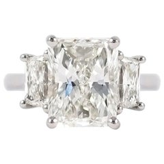 J. Birnbach GIA Certified 4.58 Carat Radiant Three-Stone Ring