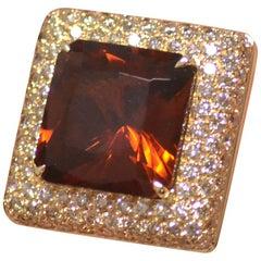 Margherita Burgener 18 Karat Gold Diamond Brown Diamond Citrine Quartz Ring