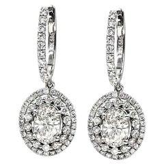 1.42 Carat Diamond Drop Earrings