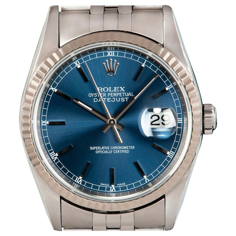 Rolex Datejust Gents Stainless Steel Blue Dial 16234 Automatic Wristwatch