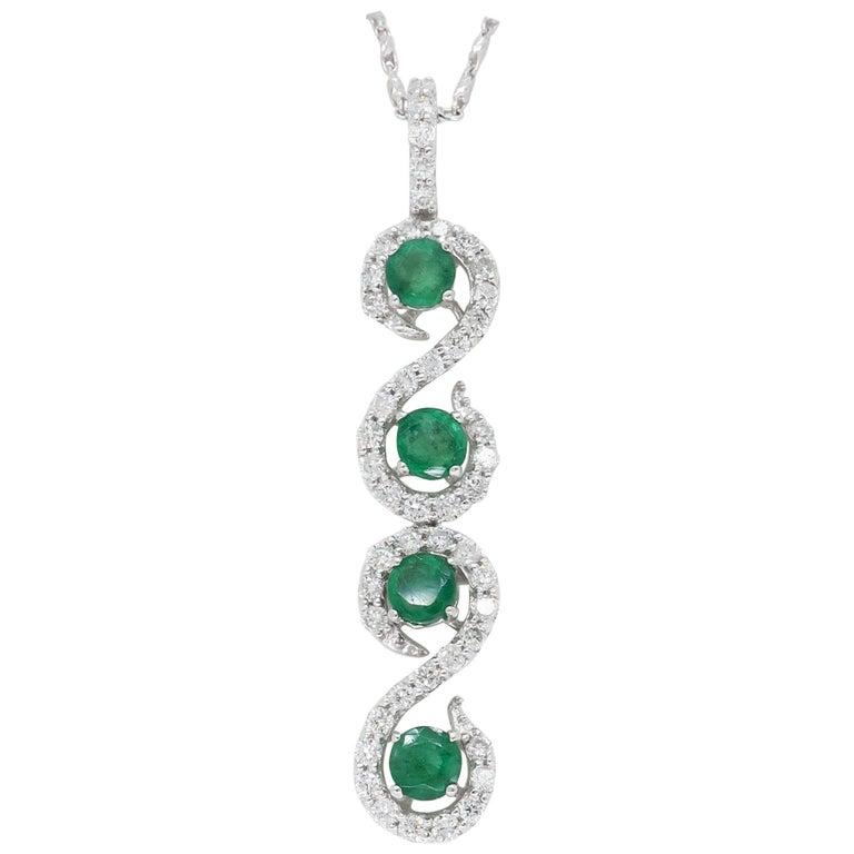 Diamond and Emerald Pendant Necklace