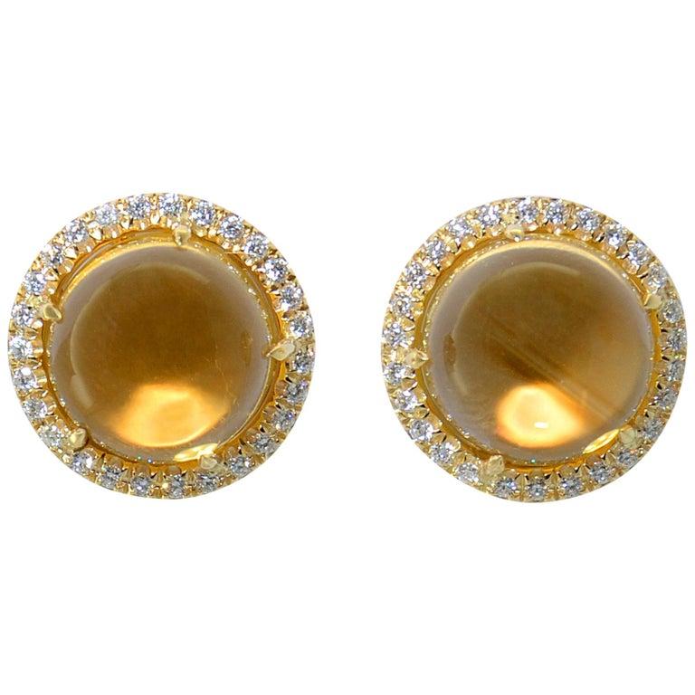 Earrings Margherita Burgener 18 Kt Yellow Gold Diamond Citrine Quartz Clip Italy