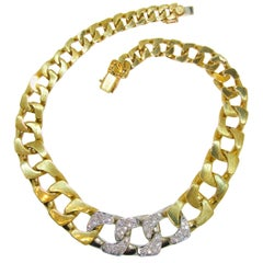18 Karat and Diamond Cable-Link Necklace, circa 1970