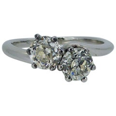Art Deco Old Cut Diamond Ring, 1.58 Carat, Two-Stone Twist, Platinum
