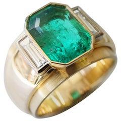 Coralie Van Caloen 18k Gold Emerald And Diamond Baguette Ring Art Deco Style