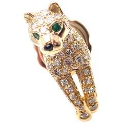 Cartier Panther Panthere Diamond Emerald Yellow Gold Tie Lapel Pin