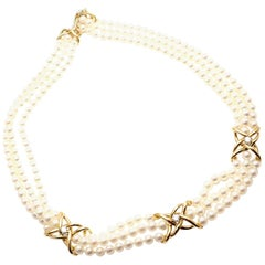 Tiffany & Co. Diamond Three-Strand Pearl Yellow Gold Necklace