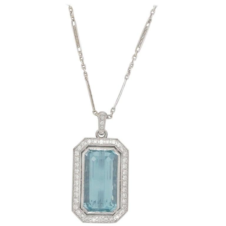14.86 Carat Aquamarine and Diamond Pendant on Antique White Gold Chain