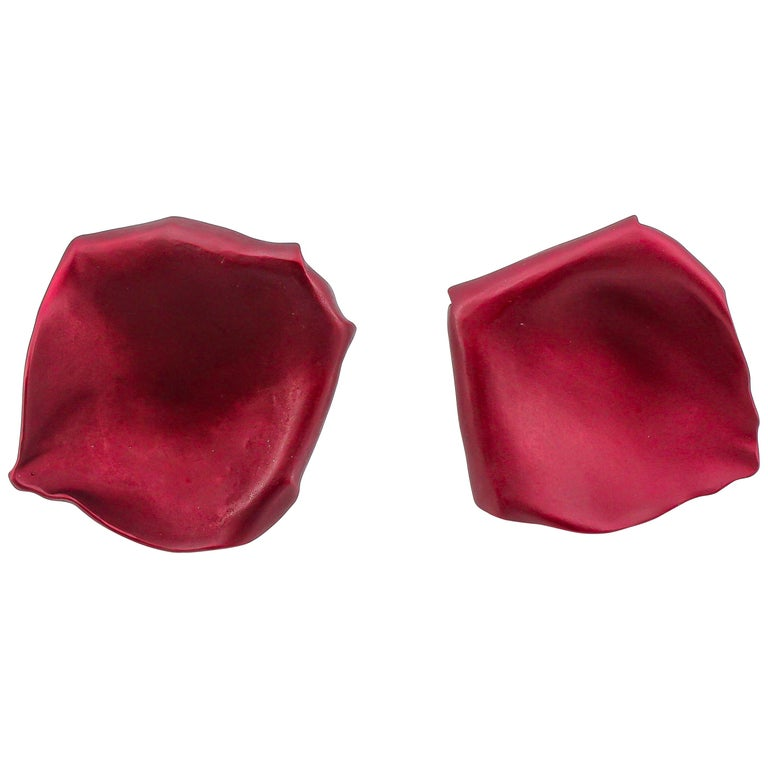JAR Rose Petal Aluminum and Gold Clip-On Earrings For Sale