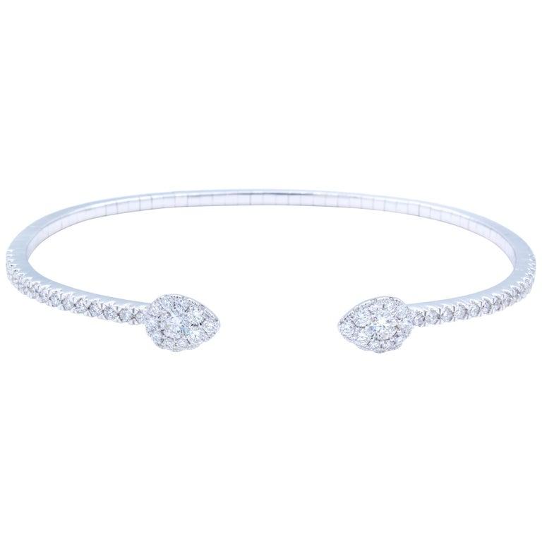 David Rosenberg 1.03 Total Carat Round and Pear Cut Diamond Cuff Bangle Bracelet