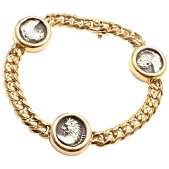 Bulgari Three Ancient Coin Yellow Gold Link Bracelet