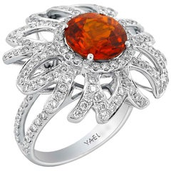 Garnet Diamond and White Gold Ring