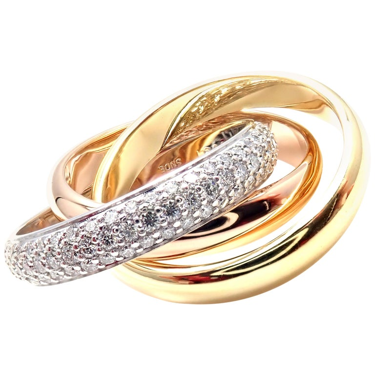 Cartier Diamond Trinity Tri-Color Gold Band Ring