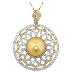 Golden South Sea Cultured Pearl Diamond Gold Pendant