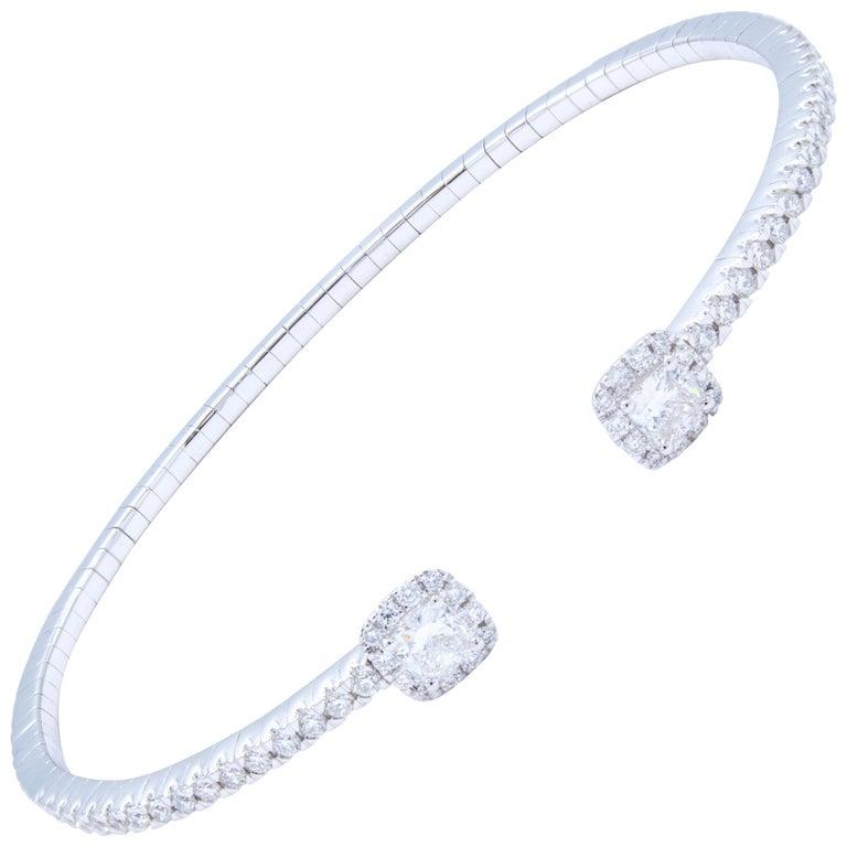 David Rosenberg 1.08 Total Carat 18 Karat Gold Diamond Bangle Cuff Bracelet