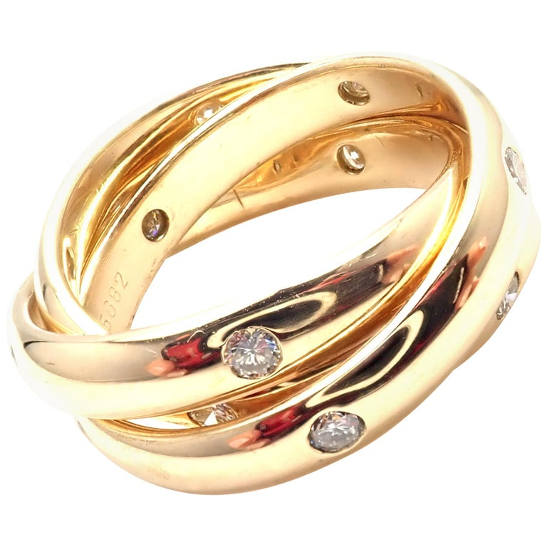 Cartier Diamond Yellow Gold Trinity Band Ring