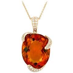 Madeira Citrine Diamond and Rose Gold Pendant