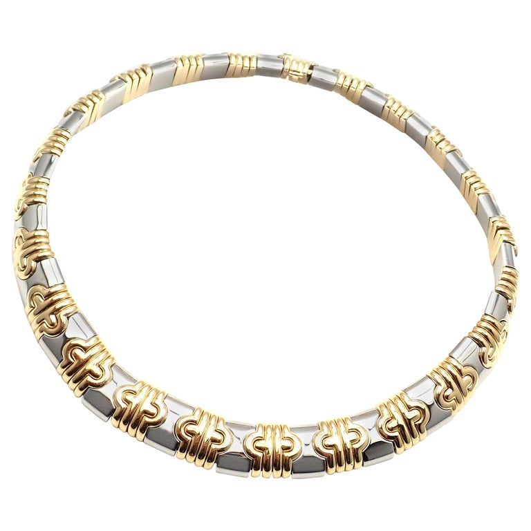 Bulgari Parentesi Wide Yellow Gold and Stainless Steel Necklace For Sale
