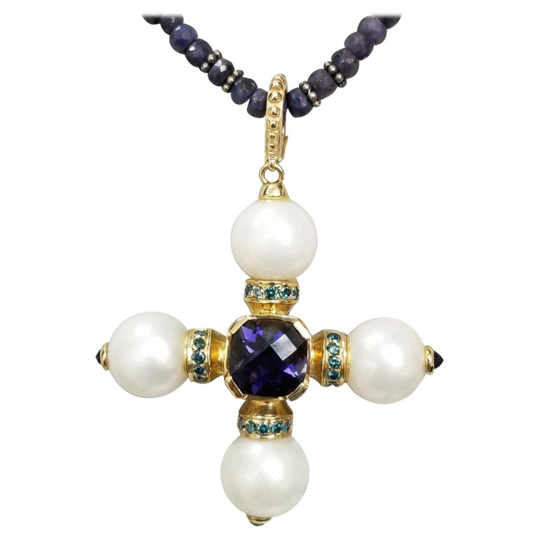 14 Karat Yellow Gold South Sea Pearls and Iolite Pendant