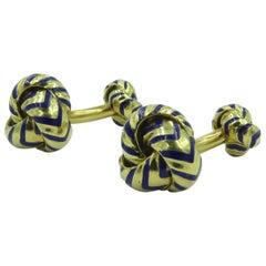 Tiffay & Co., Enamel and Gold Knot Cufflinks