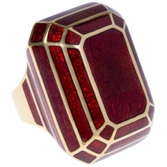 David Webb, Red Enamel and Gold Ring