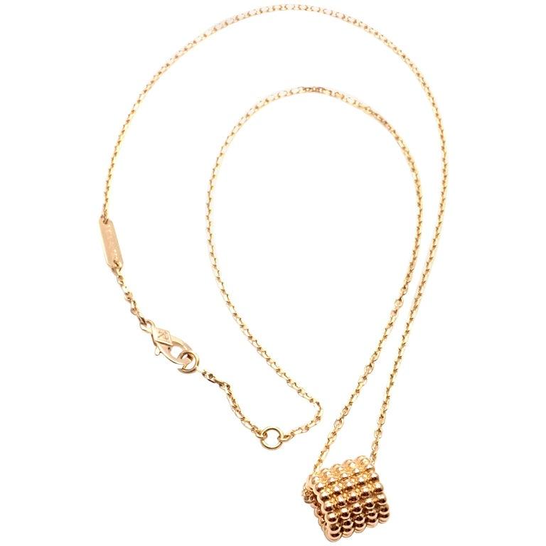 Van Cleef & Arpels Perlee Five Rows Rose Gold Pendant Necklace