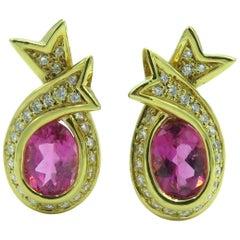 Angela Cummings Pink Tourmaline and Diamond Earrings