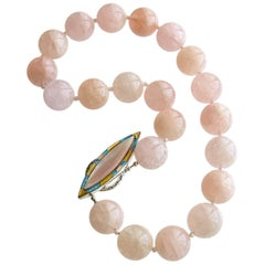 Morganite Beryl Pink Opal Inlay Toggle Choker Necklace, Dahlia IV Necklace