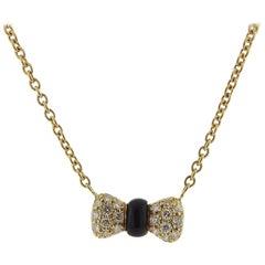 Van Cleef & Arpels VCA Gold Diamond Onyx Bow Pendant Necklace