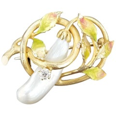 14 Karat Yellow Gold Enamel Pearl and Diamond Pin