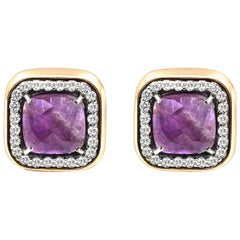 Amethyst and Diamond Rose and White Gold Earrings 4.00 Carat French Backs