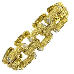 Large Yellow Sapphire and Diamond Gold Link Bracelet