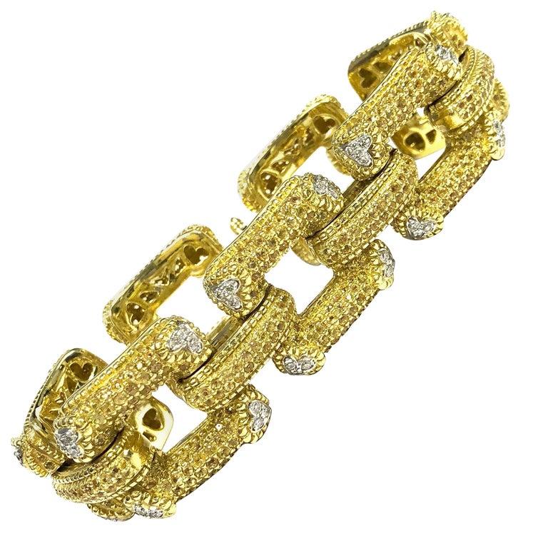 Large Yellow Sapphire and Diamond Gold Link Bracelet