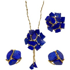 Augustin Julia Plana, Lapis Lazuli and Gold Necklace and Ear Clips Set