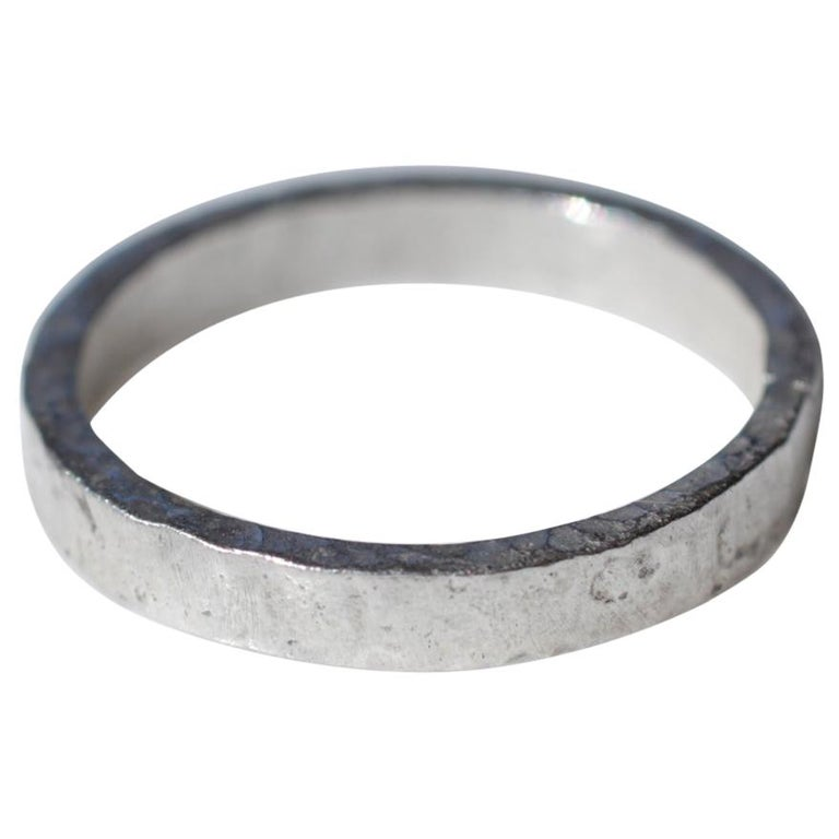 Wide Band Wedding Ring in Sterling Silver Stacking Modern Design by AB Jewelry