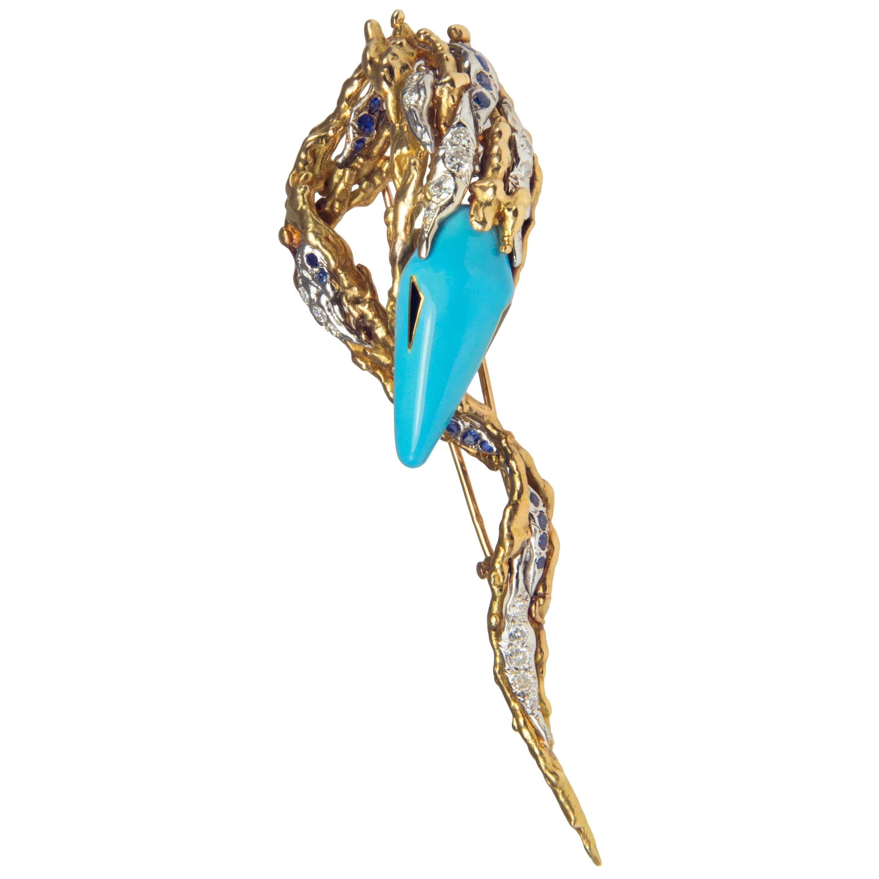 1960s Sterlé Paris, Enamel, Diamond, Sapphire and Gold Brooch