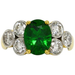 Tsavorite Garnet Diamond Gold Cocktail Engagement Ring