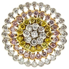 Round Diamond Cluster Floral Fashion Ring with Pink, Yellow and White Diamonds