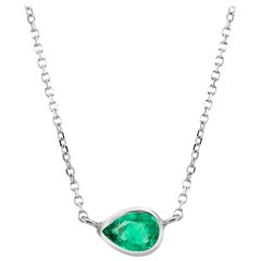 White Gold Pear Shape Emerald Bezel-Set Pendant Necklace