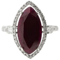 6 Carat Ruby Marquise Diamond Cocktail Ring