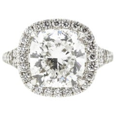 Cushion Diamond Halo Engagement Ring, GIA Certified