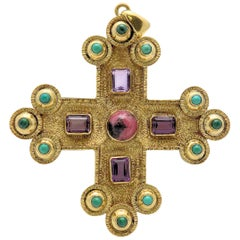 Amethyst, Turquoise, Malachite and Rhodochrosite Textured Gothic Cross Pendant