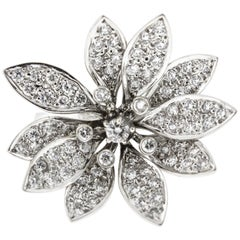 Vintage Floral Diamond Ring Set in White Gold