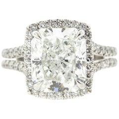 Cushion Cut Diamond Ring with Halo 'GIA Certified'