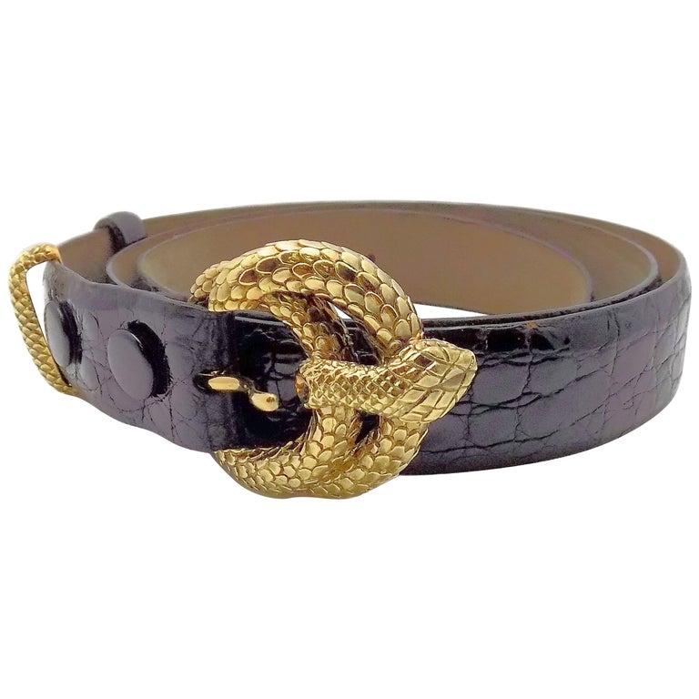 David Webb 18 Karat Yellow Gold Snake Belt Buckle with Loop and Belt
