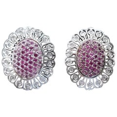 14 Karat White Gold Pink Sapphire and Diamond Earrings