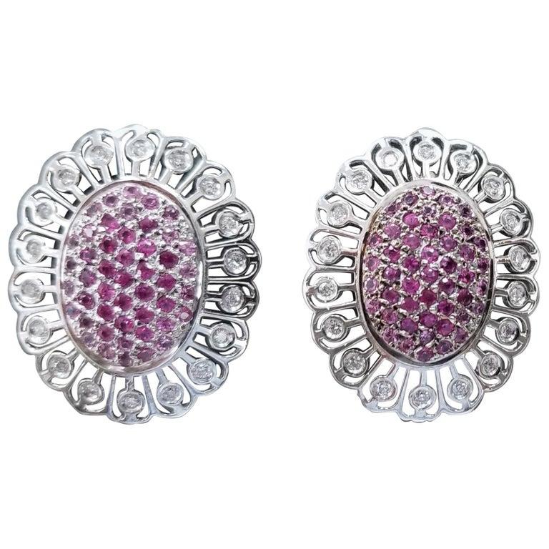 14 Karat White Gold Pink Sapphire and Diamond Earrings
