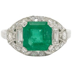 Colombian Step Cut Emerald Baguette Diamonds Platinum Art Deco Engagement Ring