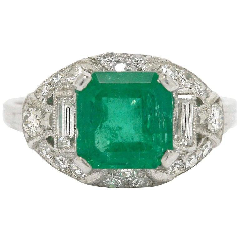 Colombian Step Cut Emerald Baguette Diamonds Platinum Art Deco Engagement Ring